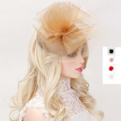 Mesh Ruffle Fascinator Headpiece w feathers