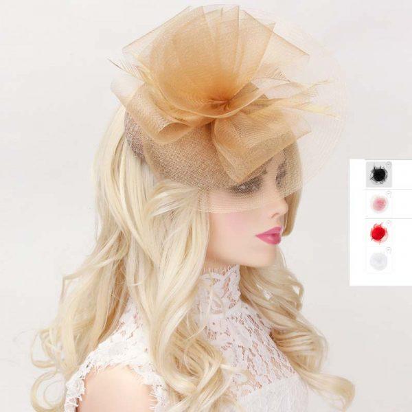 Mesh Ruffle Fascinator Headpiece w feathers
