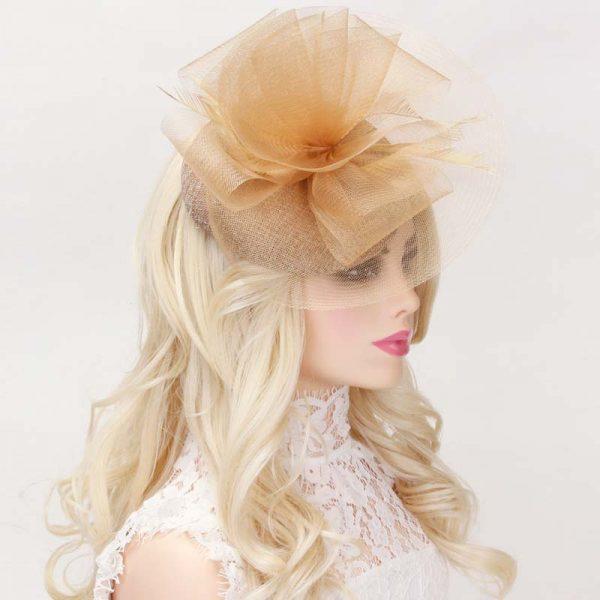 Mesh Ruffle Fascinator Headpiece w feathers - Gold or Tan