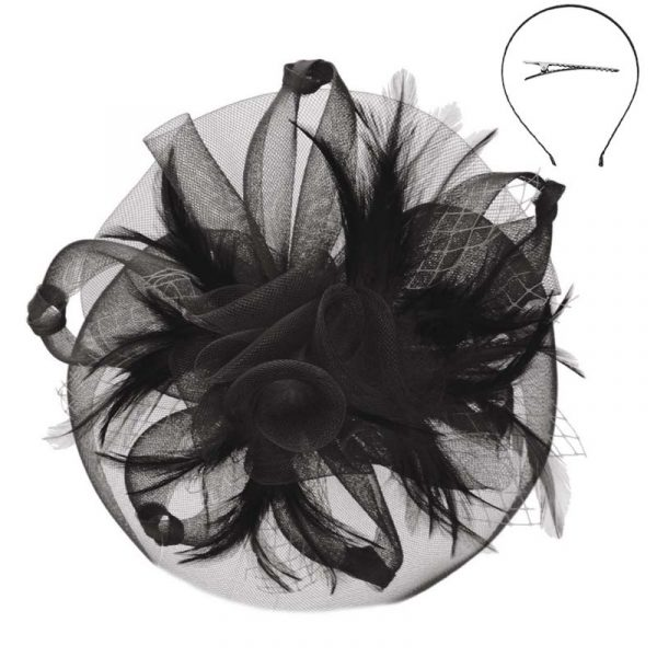 Black Mesh Flower and Feather Fascinator Headband Hat