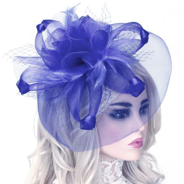 Blue Mesh Flower and Feather Fascinator Headband Hat