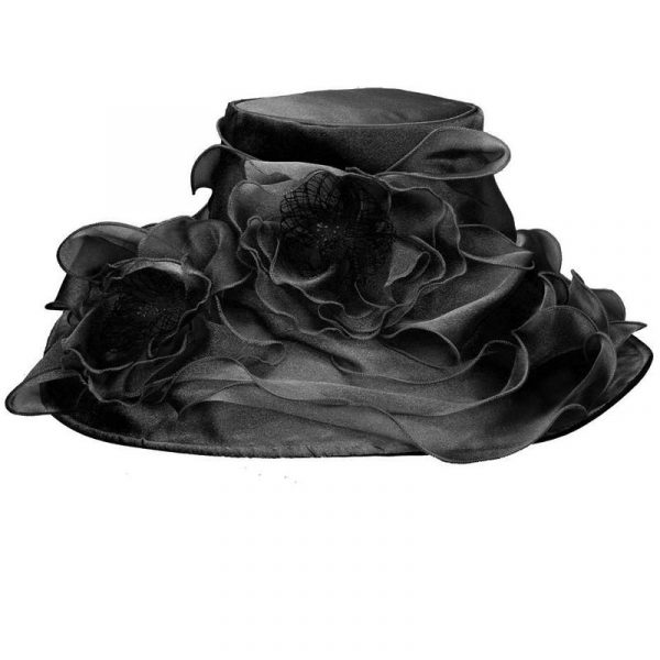 Black Wide Brim Organza Hats w/ Double Flower Trim