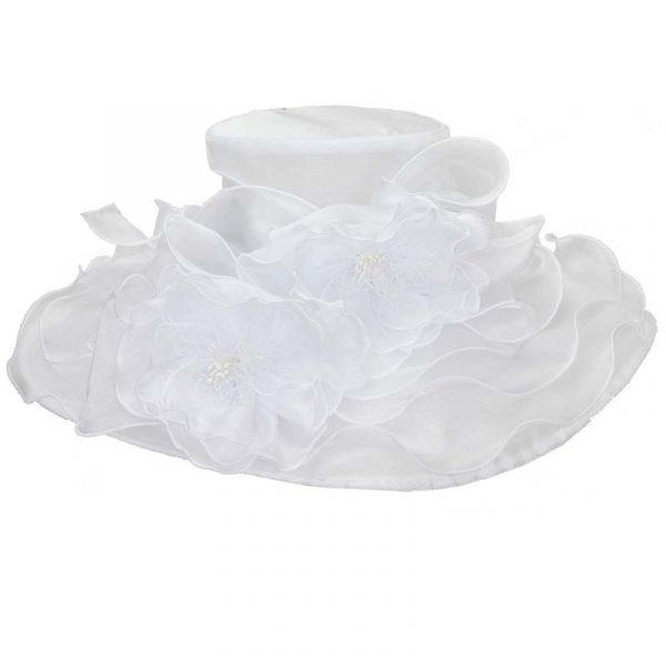 White Wide Brim Organza Hats w/ Double Flower Trim