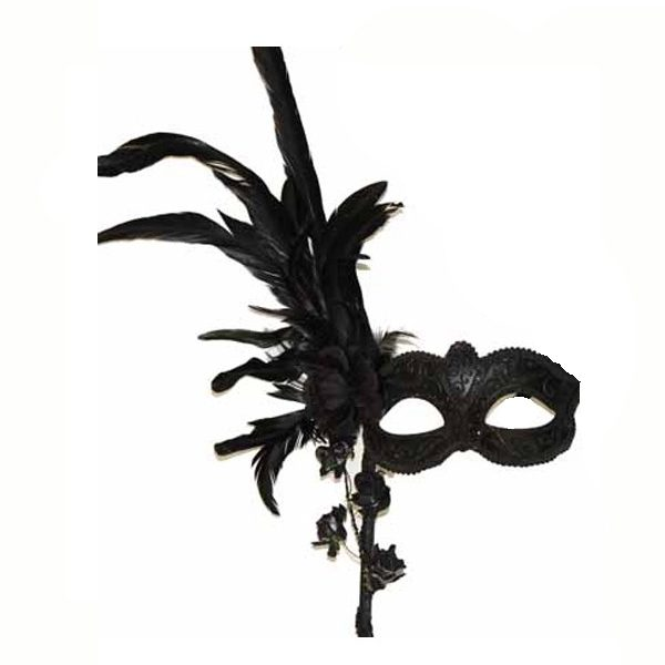 Black Costume Deluxe Venetian Mask on Stick w Feathers & Flowers