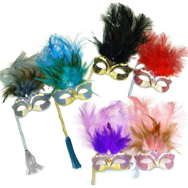 Costume Glittered Feathered Venetian Half Mask on Stick