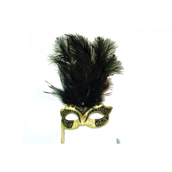 Black Gold Costume Glittered Feathered Venetian Half Mask on Stick