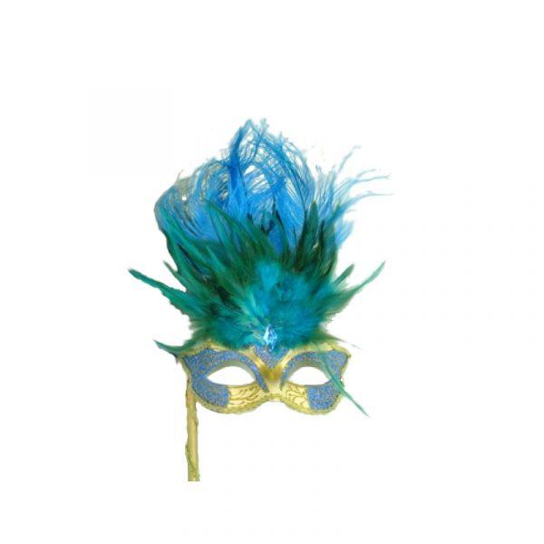 Light Blue Gold Costume Glittered Feathered Venetian Half Mask on Stick