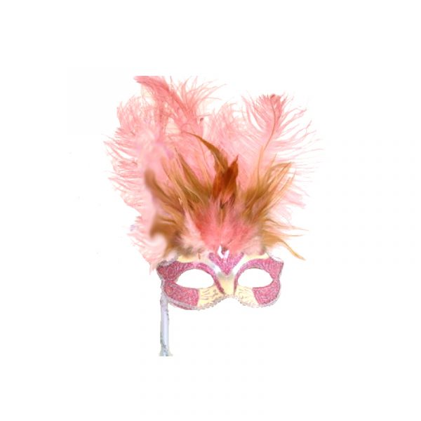 Pink Silver Costume Glittered Feathered Venetian Half Mask on Stick