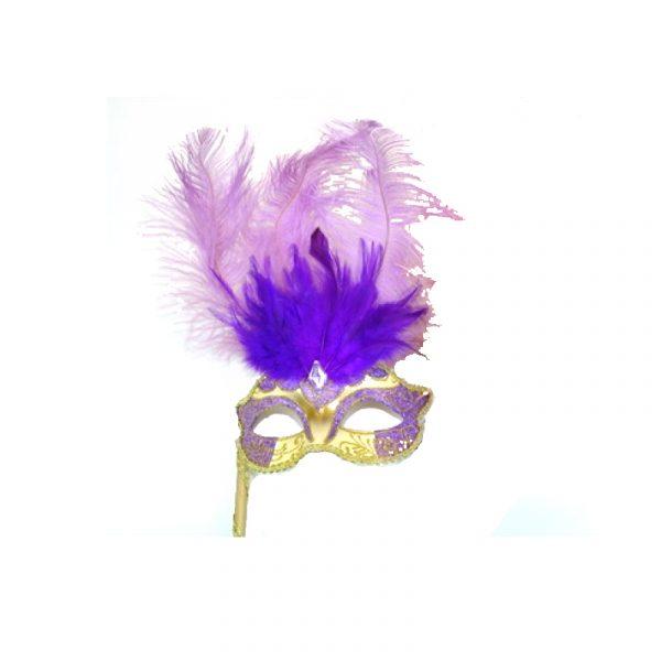 Purple Gold Costume Glittered Feathered Venetian Half Mask on Stick