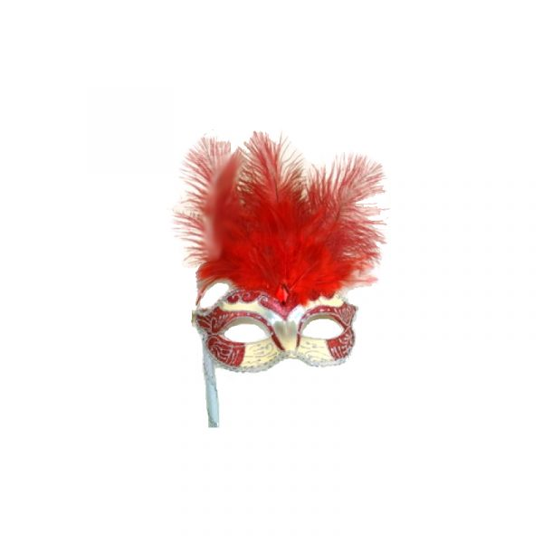 Red Silver Costume Glittered Feathered Venetian Half Mask on Stick