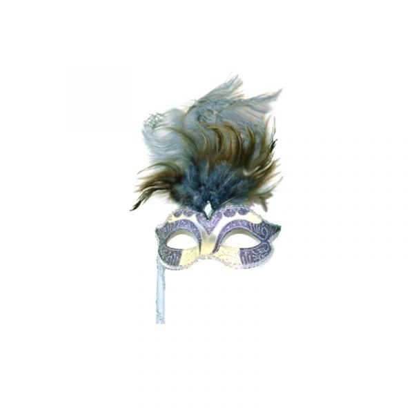Gray Silver Costume Glittered Feathered Venetian Half Mask on Stick