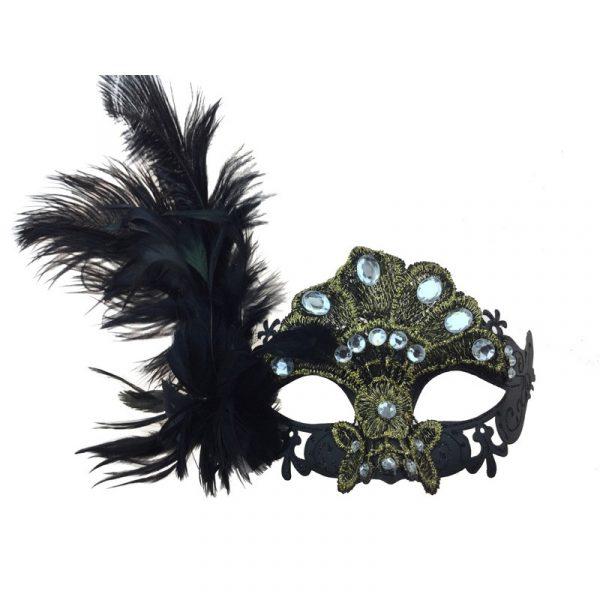 Black/Gold Costume Venetian Half Mask w Jewels Feathers
