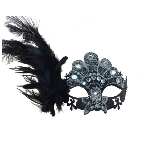 Black/Silver Costume Venetian Half Mask w Jewels Feathers