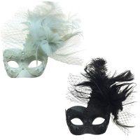 Costume Deluxe Venetian Half Mask w Netting Mixed Feathers