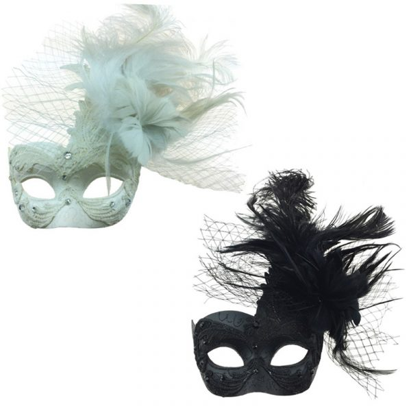 Costume Deluxe Venetian Half Mask w Netting Mixed Feathers