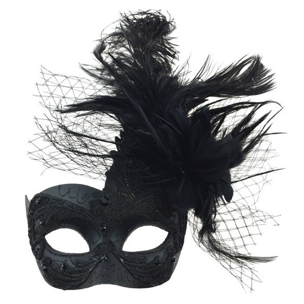 Black Costume Deluxe Venetian Half Mask w Netting Mixed Feathers