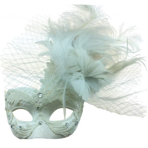 White Costume Deluxe Venetian Half Mask with Netting Mixed Feathers