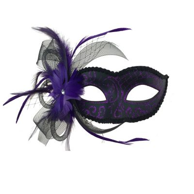 Purple Costume Glittered Venetian Half Mask w Netting & Feathers