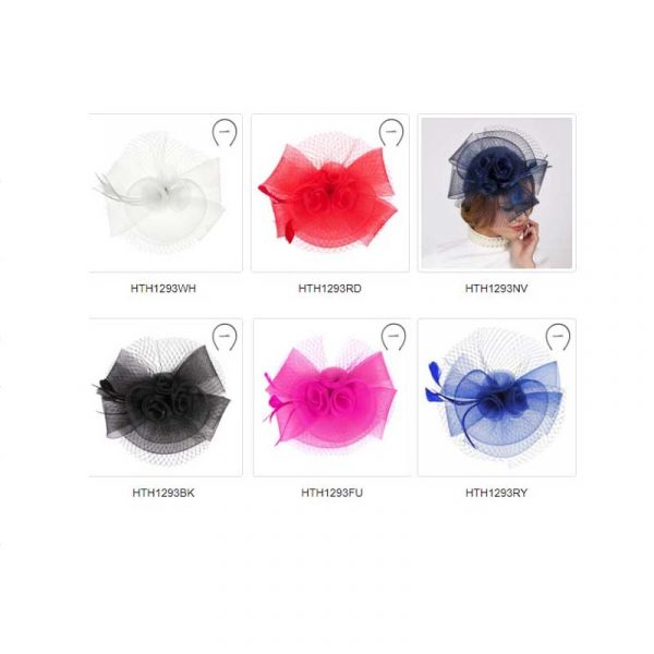 All Colors Mesh Triple Flower Fascinator Headpiece Hat