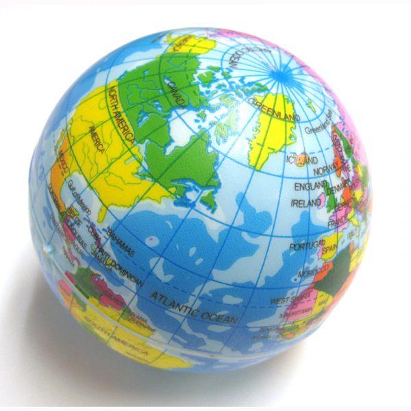 printed globe relaxable foam stress ball