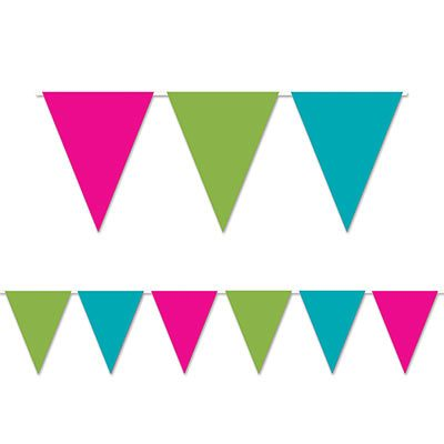 Cerise, Turquoise, and Lime Pennant Banner