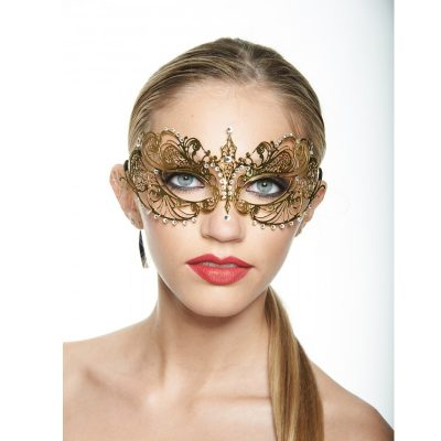 Metal Half Rhinestone Mask Gold