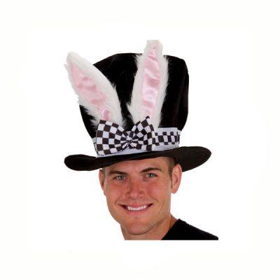 White Rabbit Ears Black Top Hat