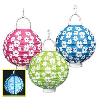 Light up Hibiscus Printed Paper Lantern