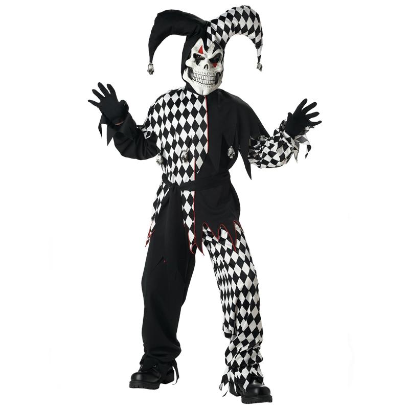 Evil Jester Black White Harlequin