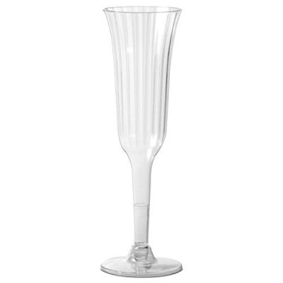 2-Piece Clear Plastic 6 oz Fluted Champagne Glasses
