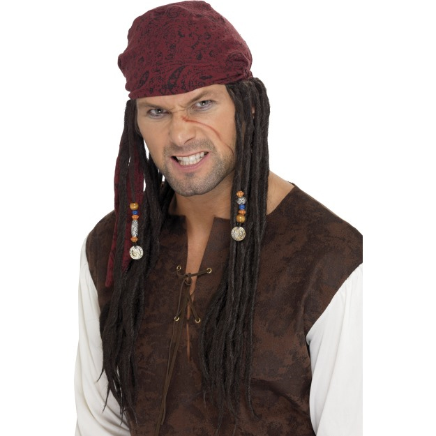Pirate wig with dreds and scarf