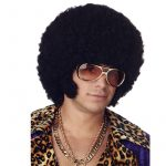 Black Afro Wig with Chops Sideburns