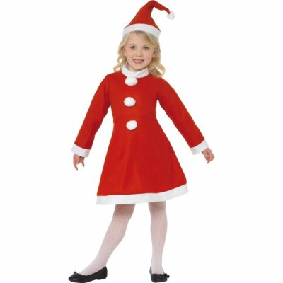 Santa Girl Dress Red White