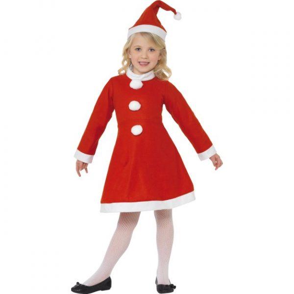 Santa Girl Dress Red White