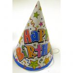 Star Print Birthday Hats Cone shaped