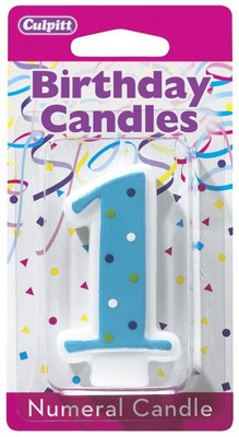First Birthday Candles Numeral 1 Blue