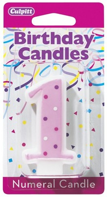 First Birthday Candles Numeral 1 Pink