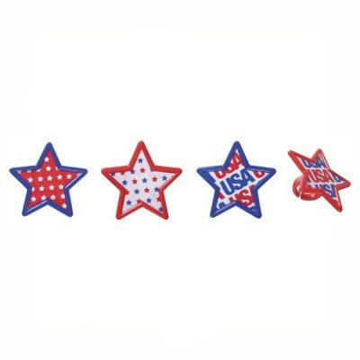 One Dozen Plastic Patriotic Star Rings
