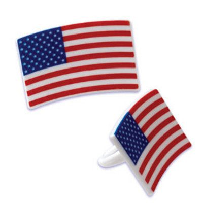 Plastic US Flag Rings - Dozen