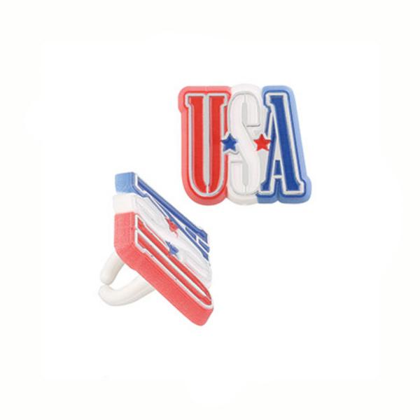 Plastic USA Rings - Dozen