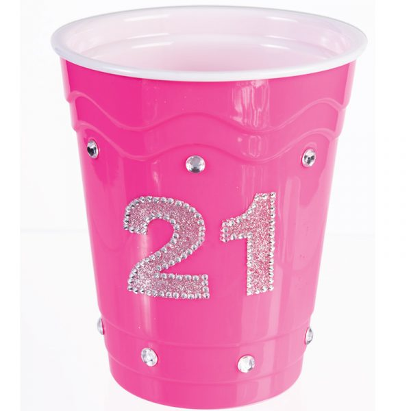Pink hard plastic cup with Rhinestones #21