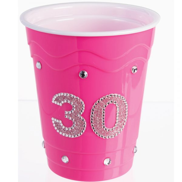 Pink hard plastic cup with Rhinestones #30