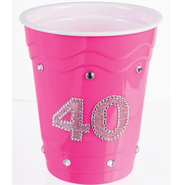 Pink hard plastic cup with Rhinestones #40