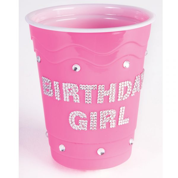 "Pink hard plastic cup with Rhinestones ""Birthday Girl"""