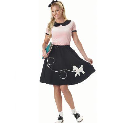 50s Hop Costume Pink Top Black Poodle Skirt Sequin Trim