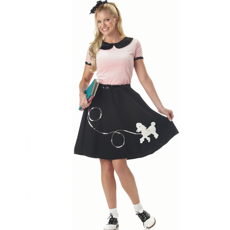 50s Hop Costume Pink Top Black Poodle Skirt Sequin Trim