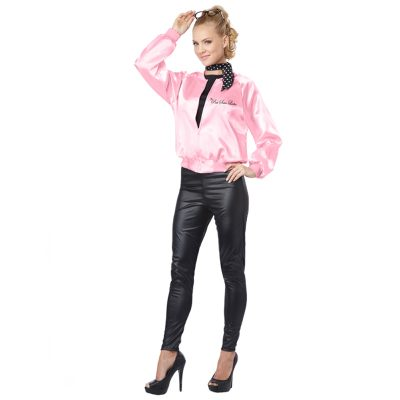 Pink Satin Ladies Jacket Adult 50s Costume Accessory