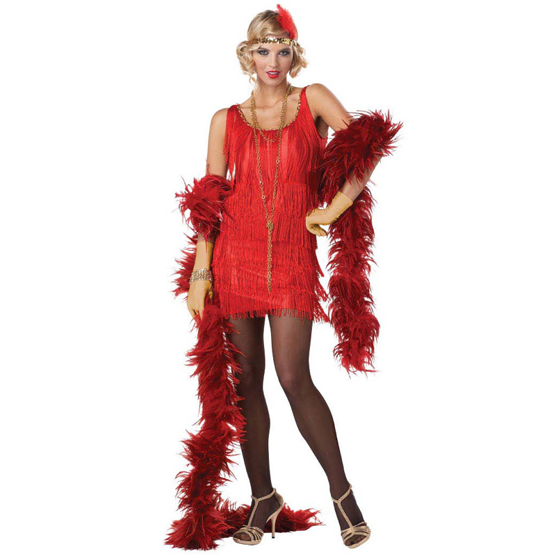 Fashion Flapper 1920s Costume Dress, Headband, and Feather