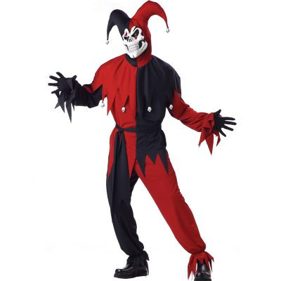 Evil Jester Red Black Adult Costume