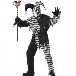 Adult Evil Jester Black White Harlequin Costume